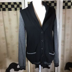 Gap Black And Gray Cardigan Sweater